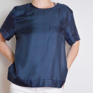 Marc Jacobs Blue Print Silk Blouse - 10
